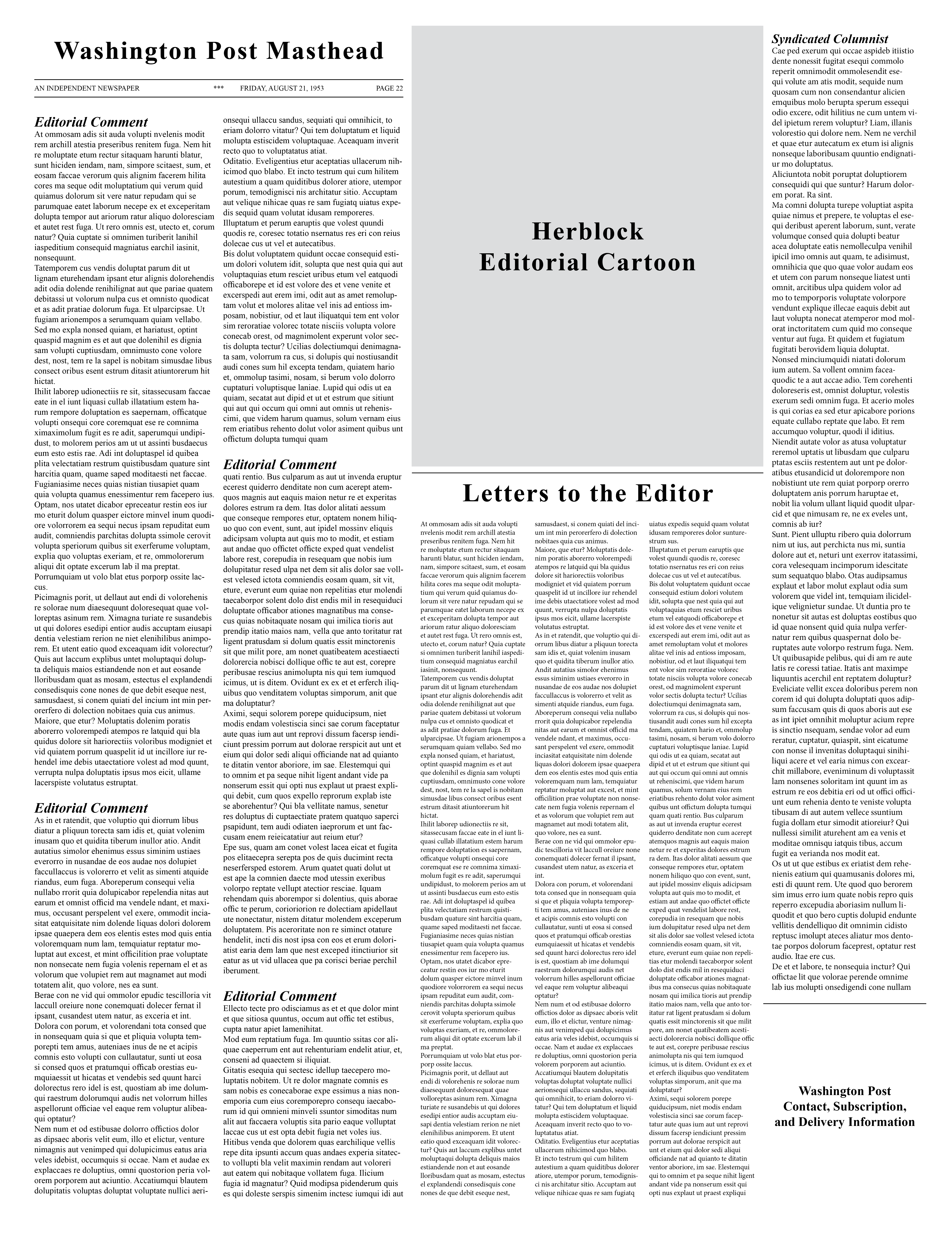 Mock-up of the Washington Post's editoral page layout based on the paper from the twenty-first of August nineteen hundred and fifty-three.