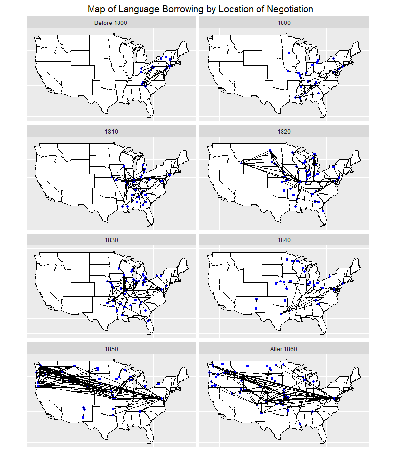 Series of maps showing language borrowing networks based upon the location of negotiation by decade