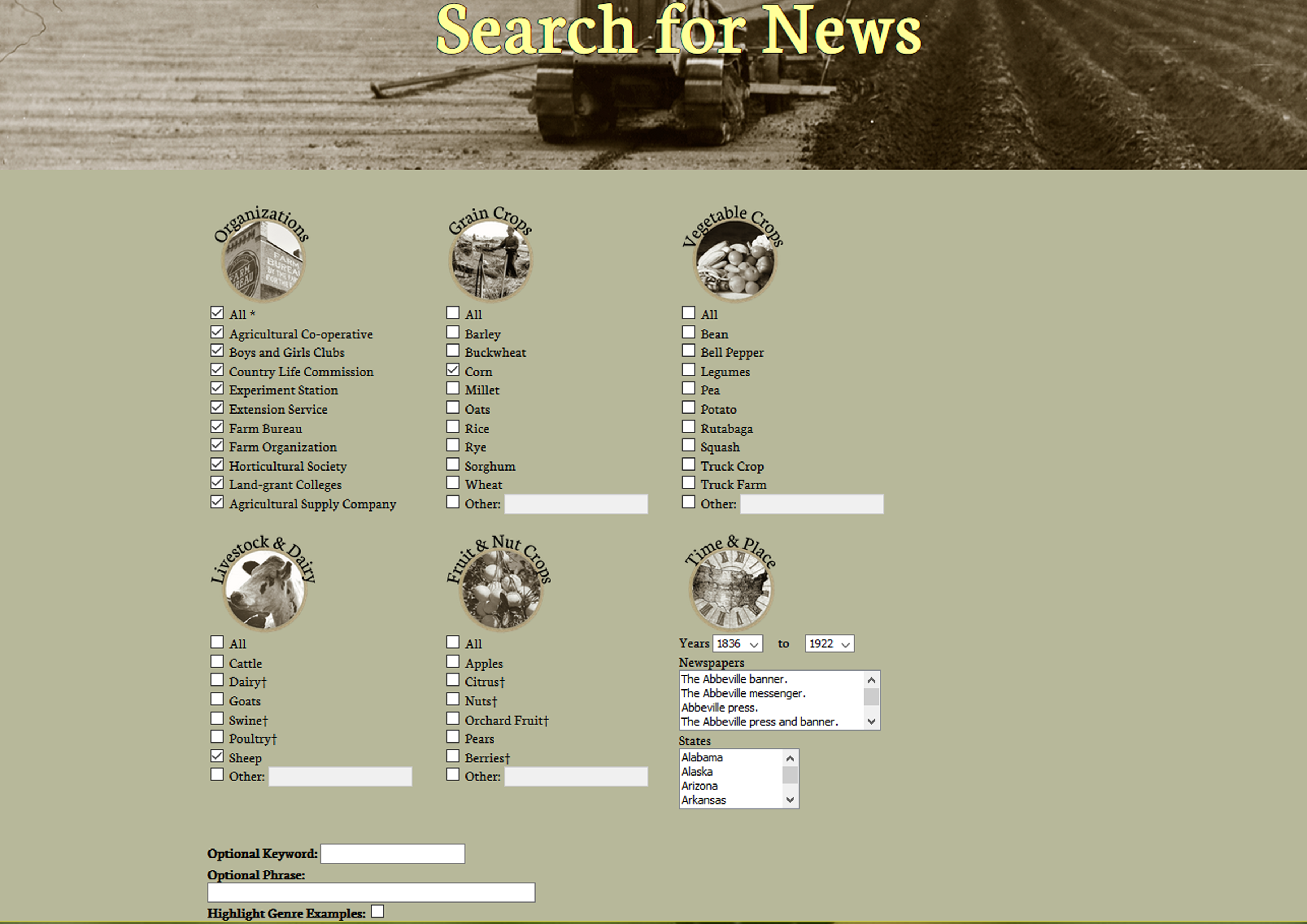 A screenshot of the search screen for the Historical Agricultural News website