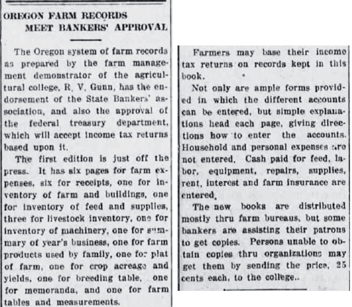 """Black and white image of newspaper article entitled """"Oregon Farm Records Meet Bankers Approval"""""""
