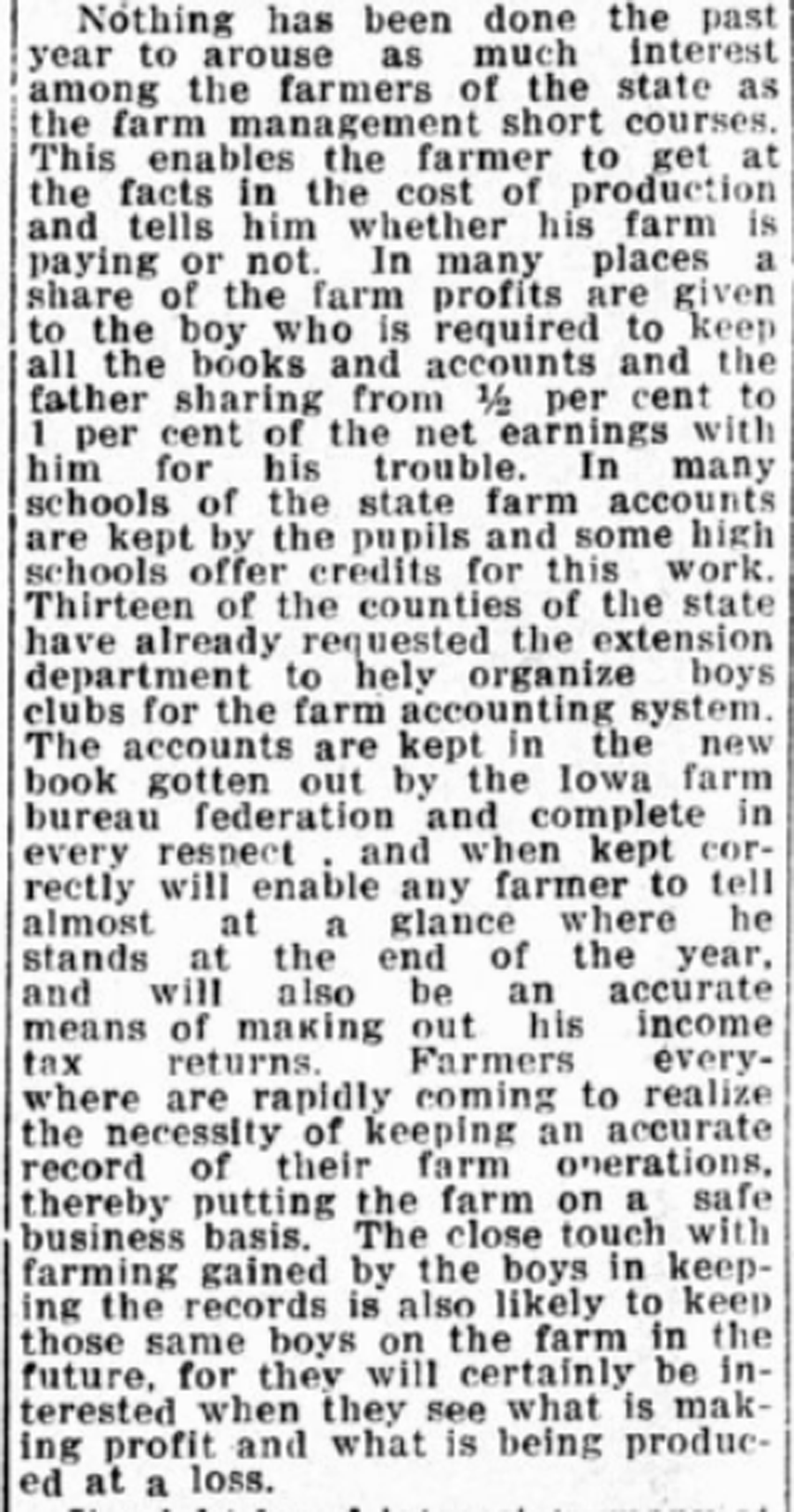 Black and white image of newspaper article about the benefits of keeping a farm record book