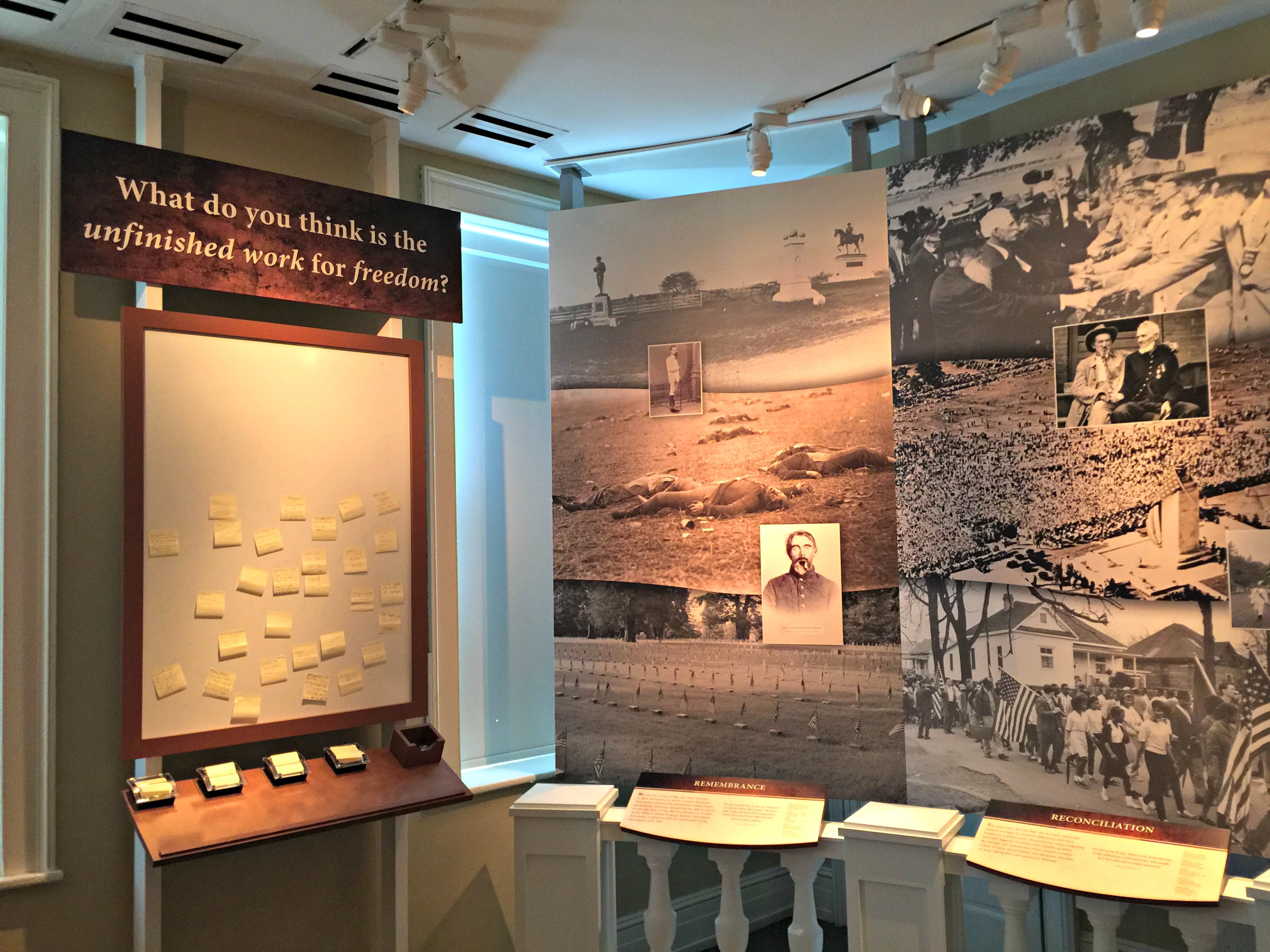 Photograph of a talk-back board at the Seminary Ridge Museum in Gettysburg, Pennsylvania. The question reads: What do you thin is the unfinished work for freedom?