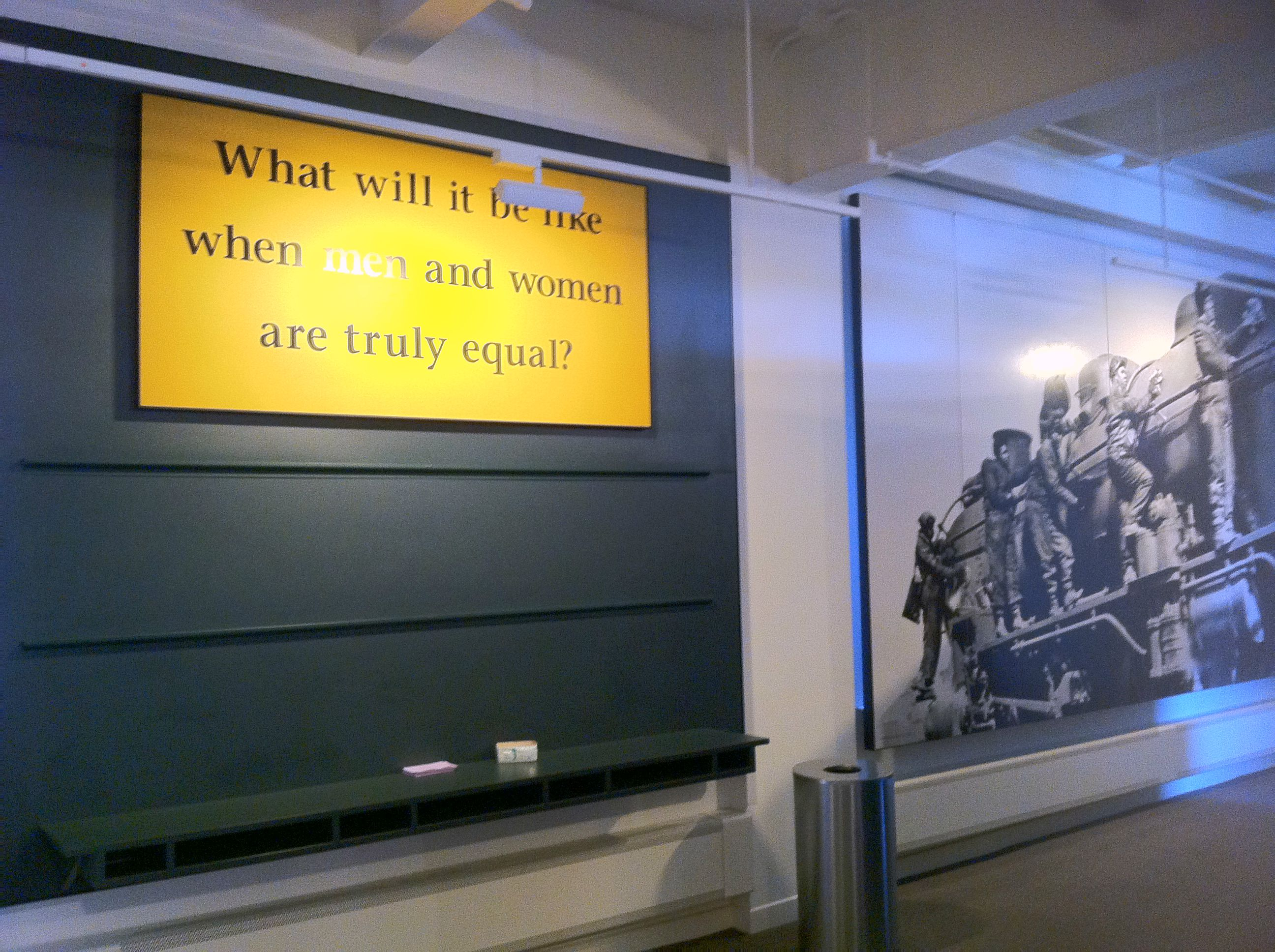 Photograph of a talk-back board at the Women's Rights National Historical Park in Seneca Falls, New York. The question reads: What will it be like when men and women are truly equal?