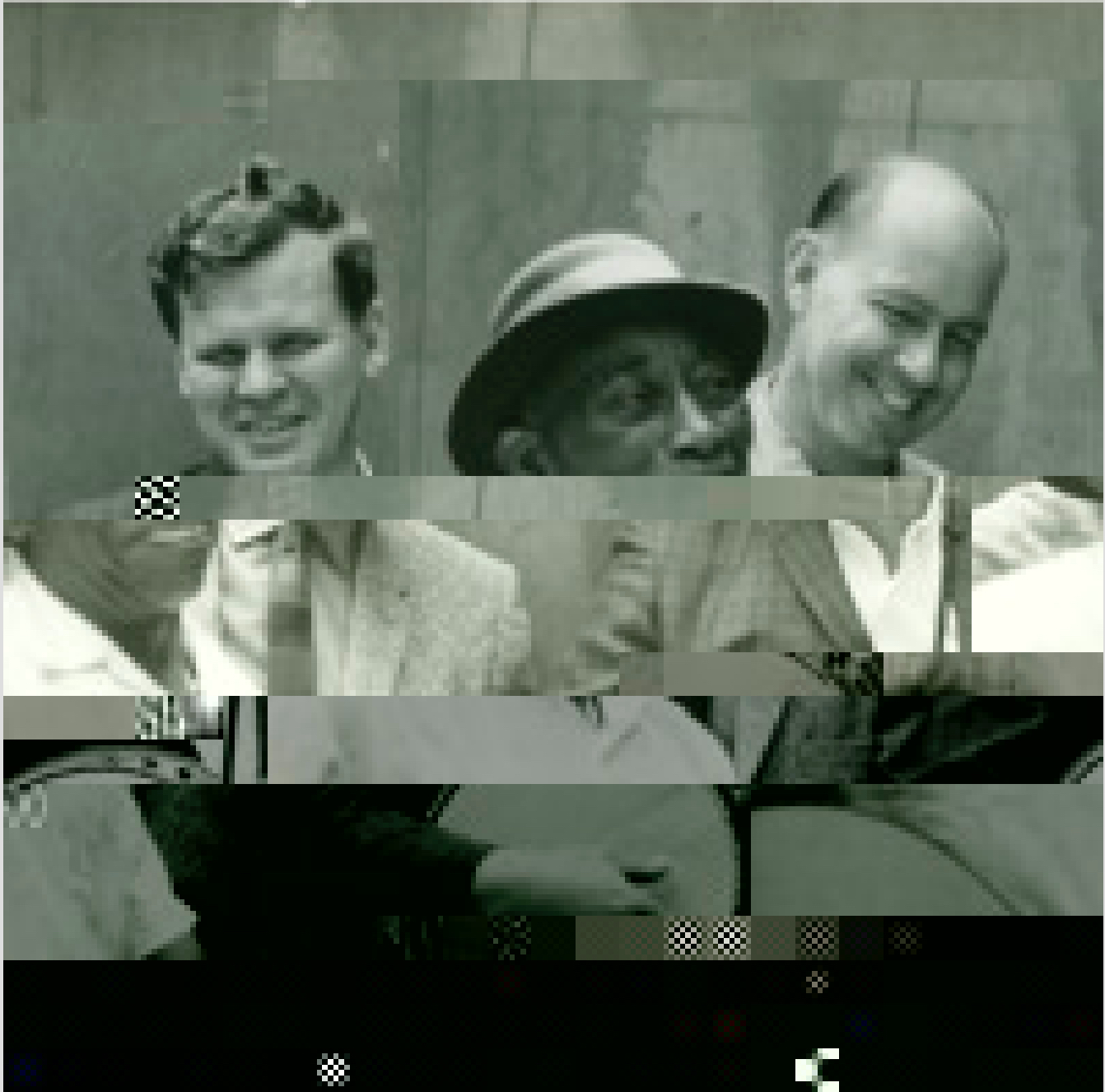 "A glitched photograph showing from left to right, Arthel ""Doc"" Watson, ""Mississippi"" John Hurt and Sam Hinton."