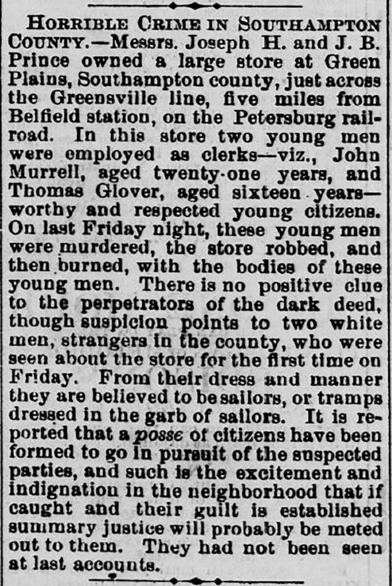 Image of newspaper article from the Staunton Spectator