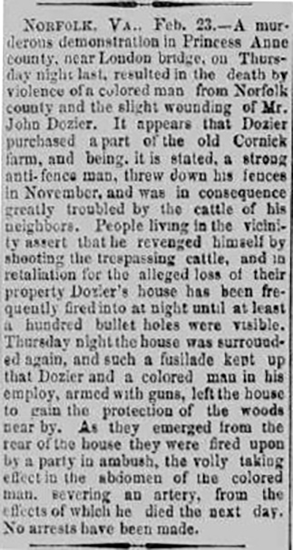 Image of newspaper article from the Shenandoah Herald