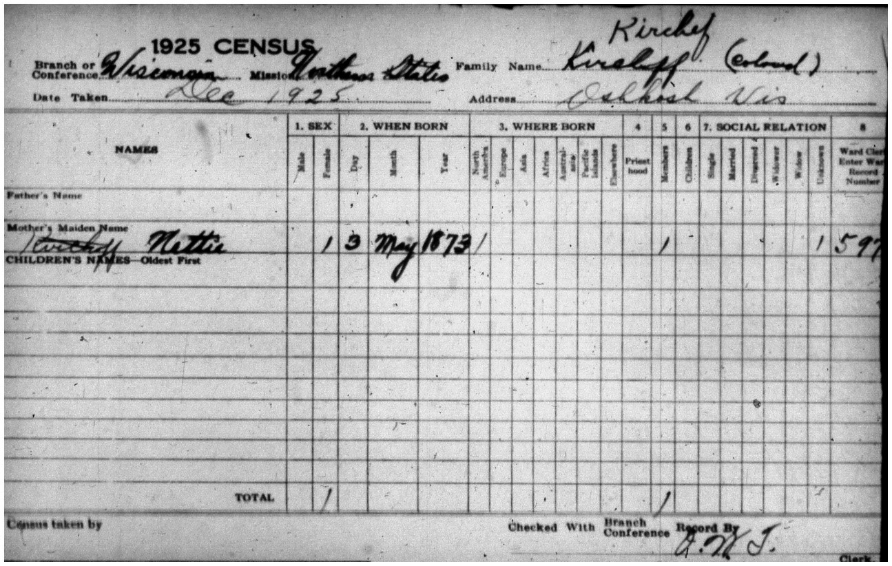 """Black and white image of LDS Census Record, which has the word """"colored"""" written in the upper righthand corner"""