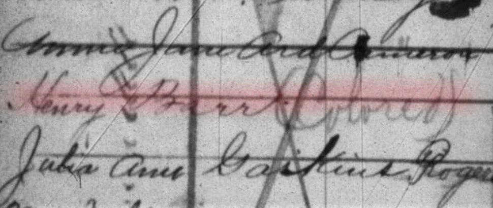 """Black and white image of a baptismal record, cropped to show just the entry for Henry Barr, with the word """"colored"""" written next to his name."""