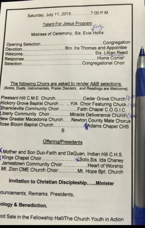 Photograph of paper program from the 2015 Pleasant Hill Homecoming Celebration, listing names of participating choirs and individuals.