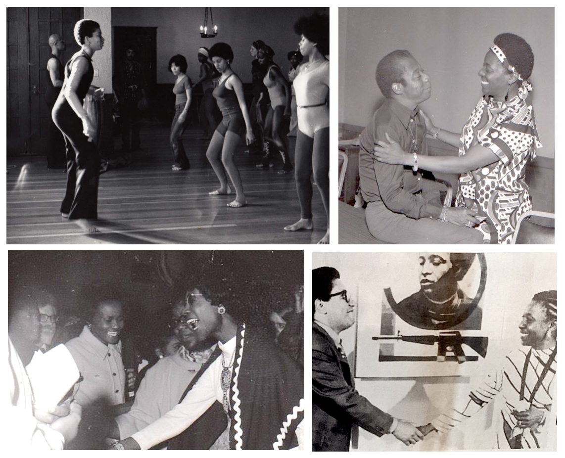 Group of four photographs. Top left shows a dance class. Top right shows James Baldwin with Mary Ann Pollar. Bottom left shows Shirley Chisholm at Rainbow Sign. Bottom right shows Herman Kofi Bailey shaking Mary Ann Pollar's hand.