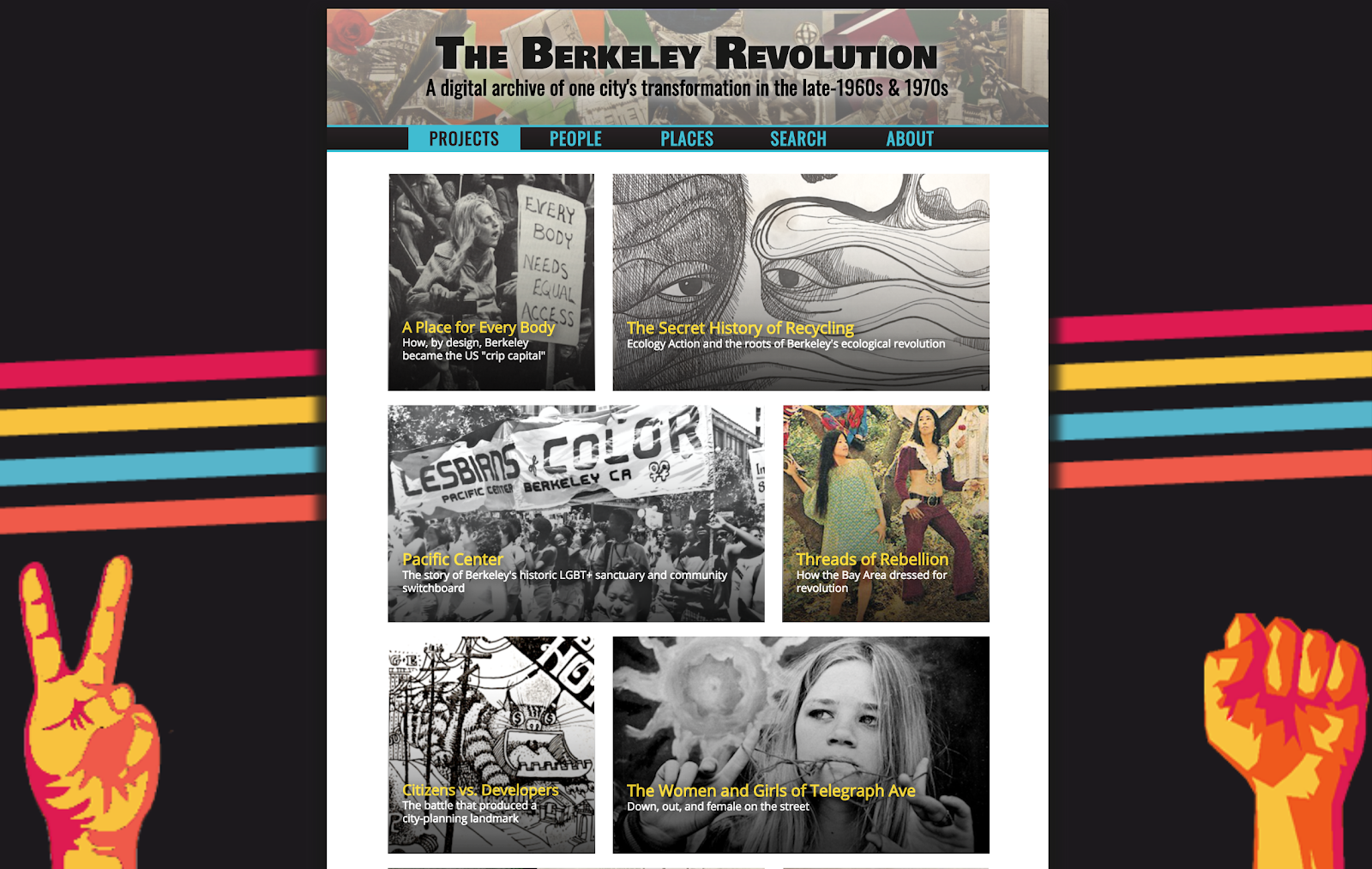 A screenshot of the homepage for The Berkeley Revolution project.
