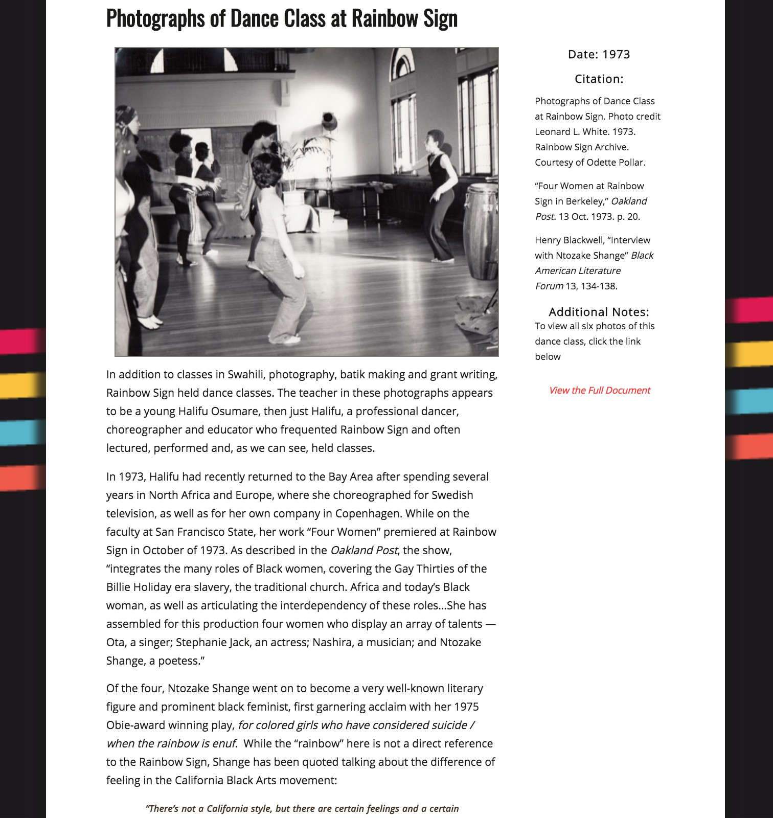 Screenshot showing one of the annotated sources used in the Rainbow Sign project. This page features a photograph and text about dance classes that took place at Rainbow Sign.