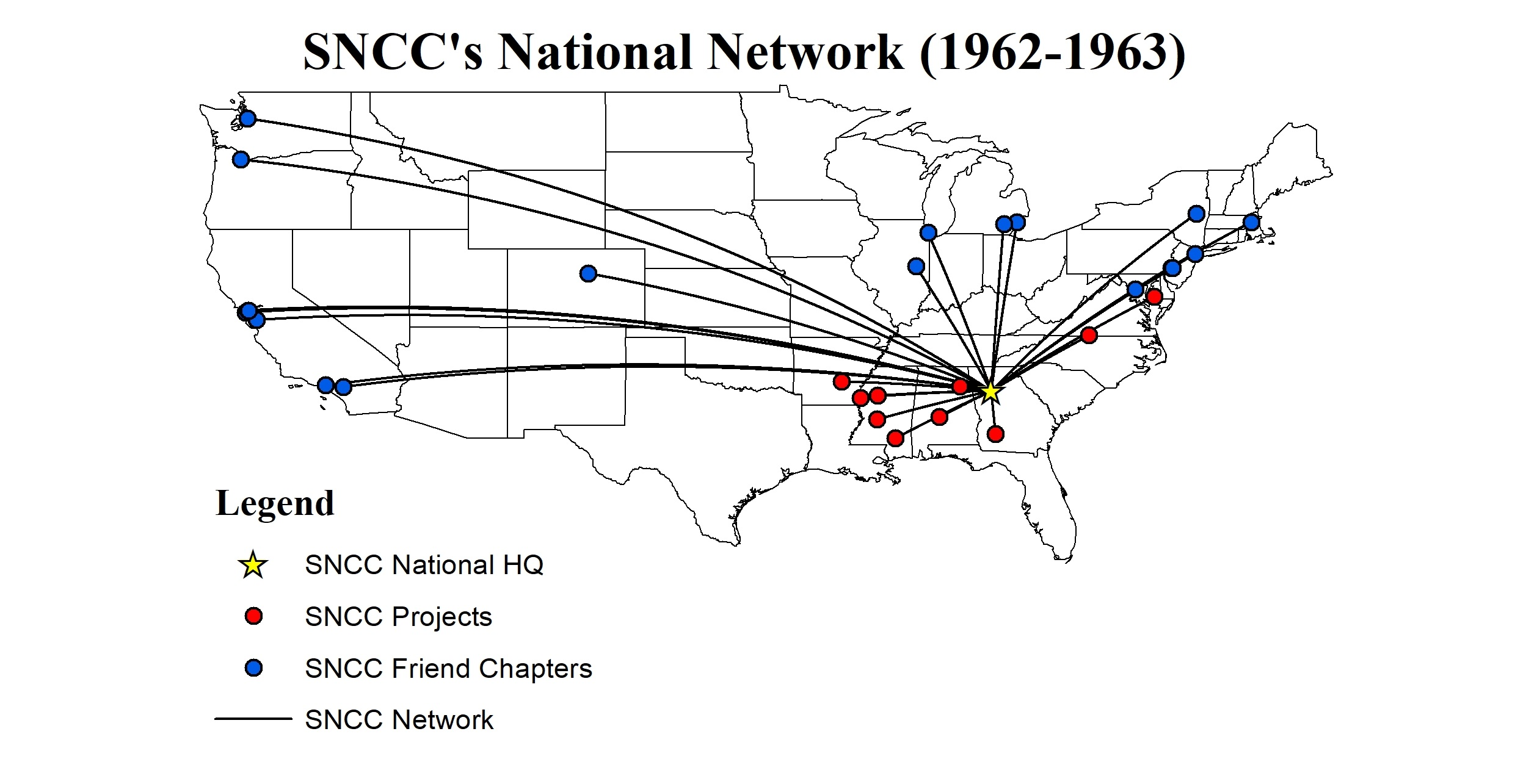 Map of the United States, showing the locations of SNCC Projects (in the south) and SNCC Friends Chapters (in the North), in relation to the national headquarters in Atlanta.