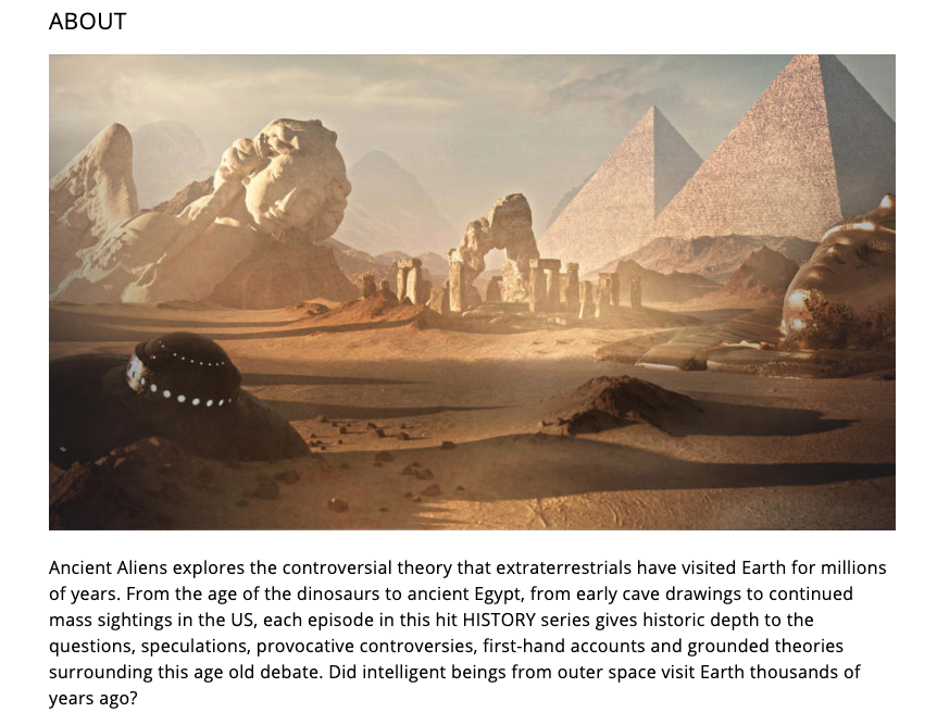 Screenshot from History's webpage for the show Ancient Aliens.