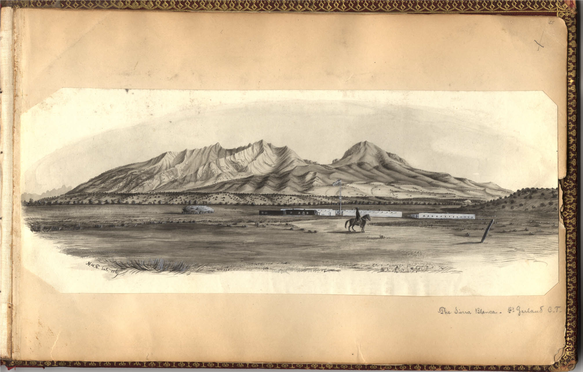 Sketch, with Sierra Blanca Massif in the background, and Fort Garland, an American flag on a flag pole, and a person on a horse in the foreground.