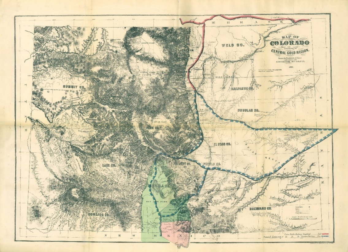 Map of Colorado, with the Sangre de Cristo Grant in the bottom-middle of the map.