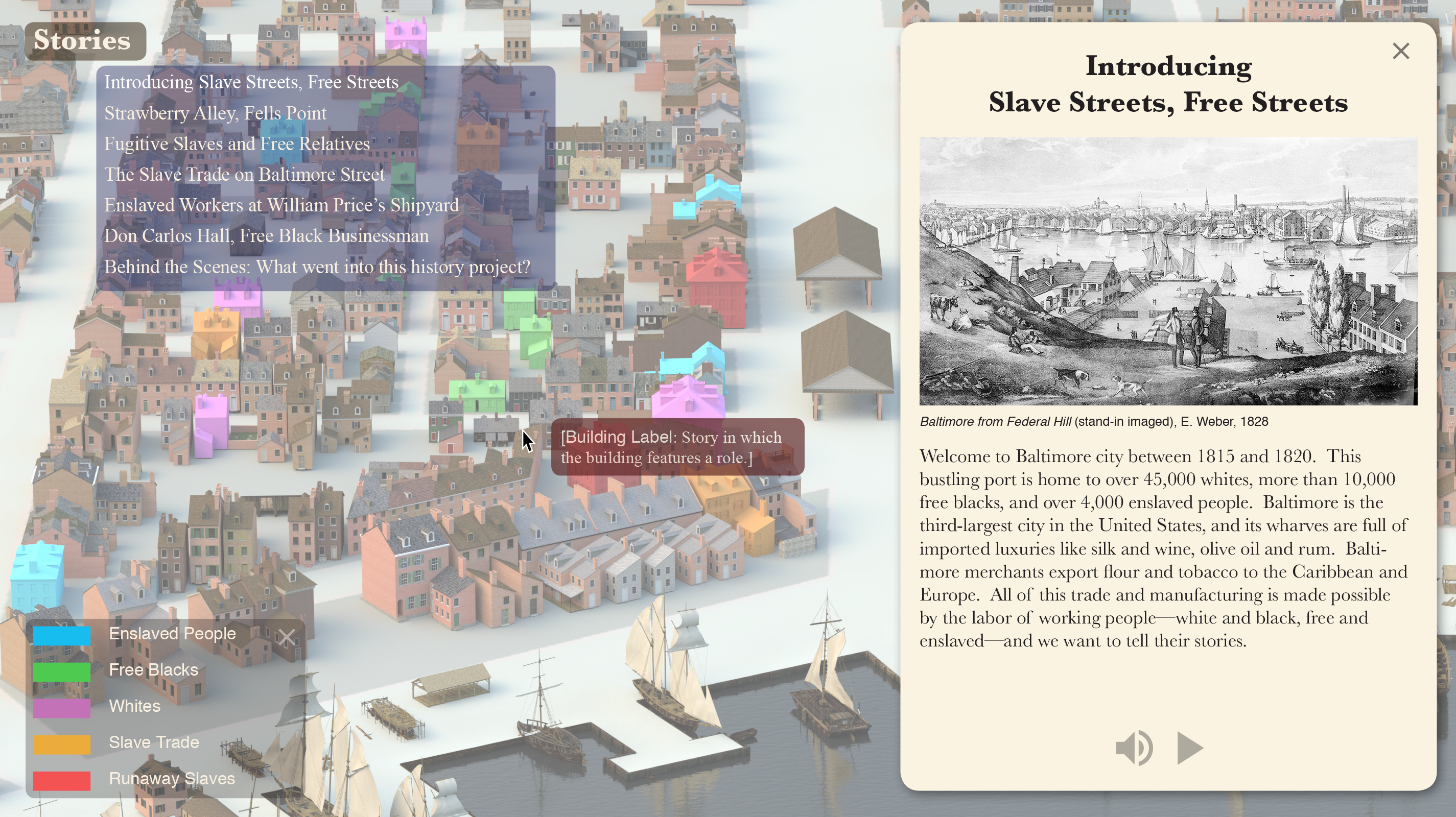 Opening page for a _Slave Streets, Free Streets_ prototype.