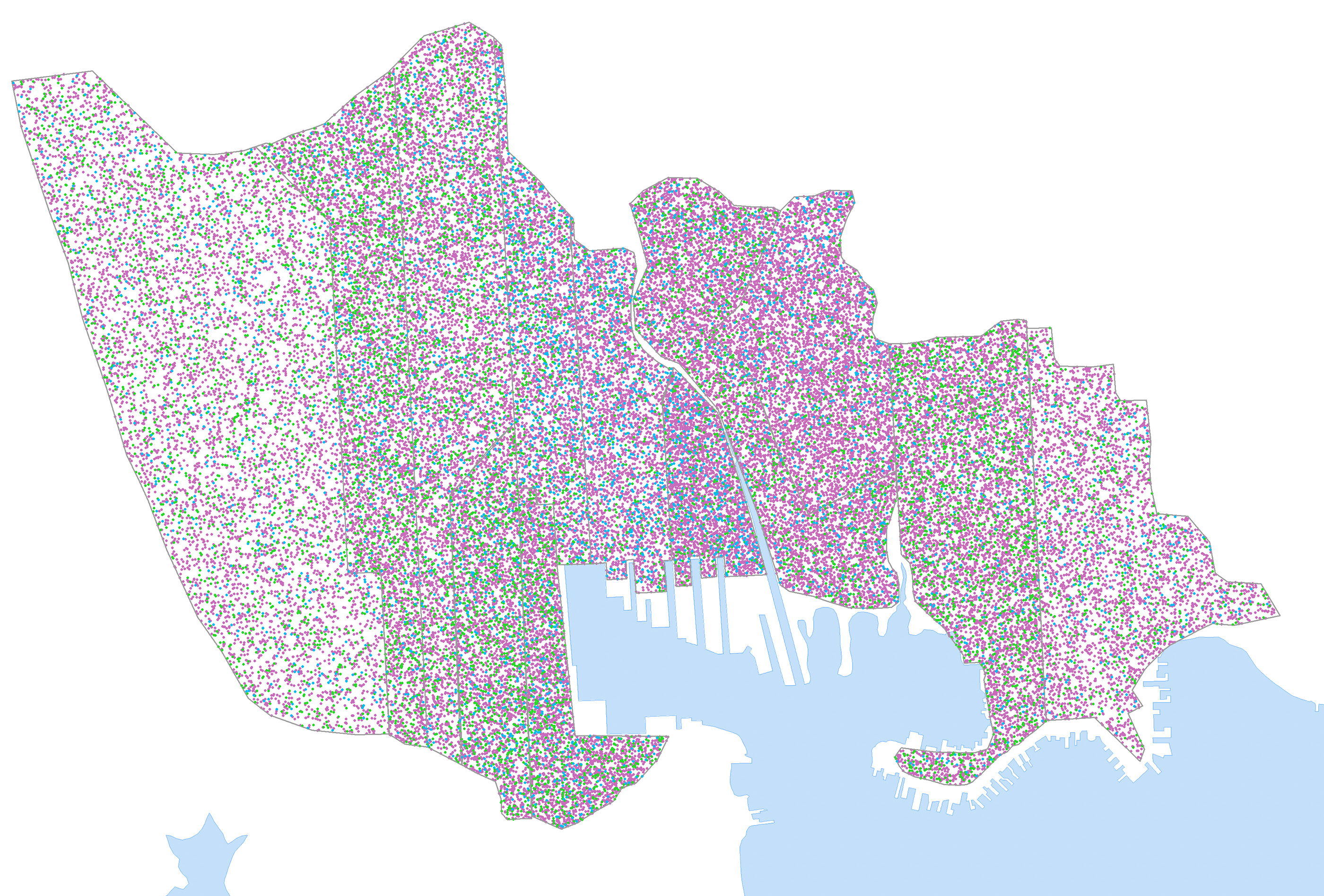 Dot density map showing 1820 population by ward